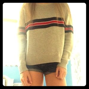 Grey striped red and blue cotton sweater